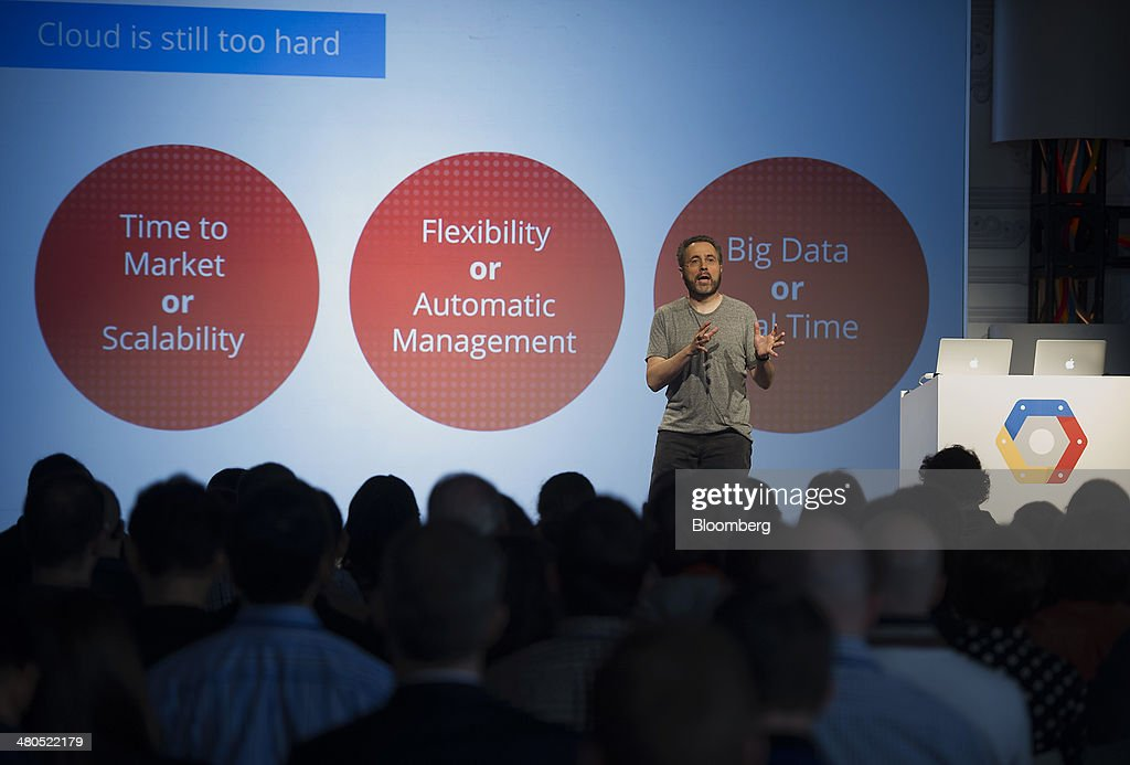 Urs Holzle, vice president of operations for Google Inc., speaks during a Google Cloud event in San Francisco, California, U.S., on Thursday, March 25, 2014. Google Inc. cut prices on some Internet-based services for businesses by 30 percent or more, stepping up a challenge to Amazon.com Inc. and Microsoft Corp. in cloud computing. Photographer: David Paul Morris/Bloomberg via Getty Images
