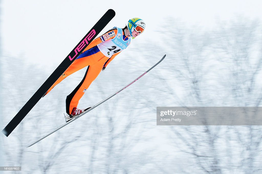 Ursa Bogataj of Slovenia jumps in the first round of competition during day one of the FIS Women's Ski Jumping World Cup at Zao Jump Stadium on February 9, 2013 in Yamagata, Japan.