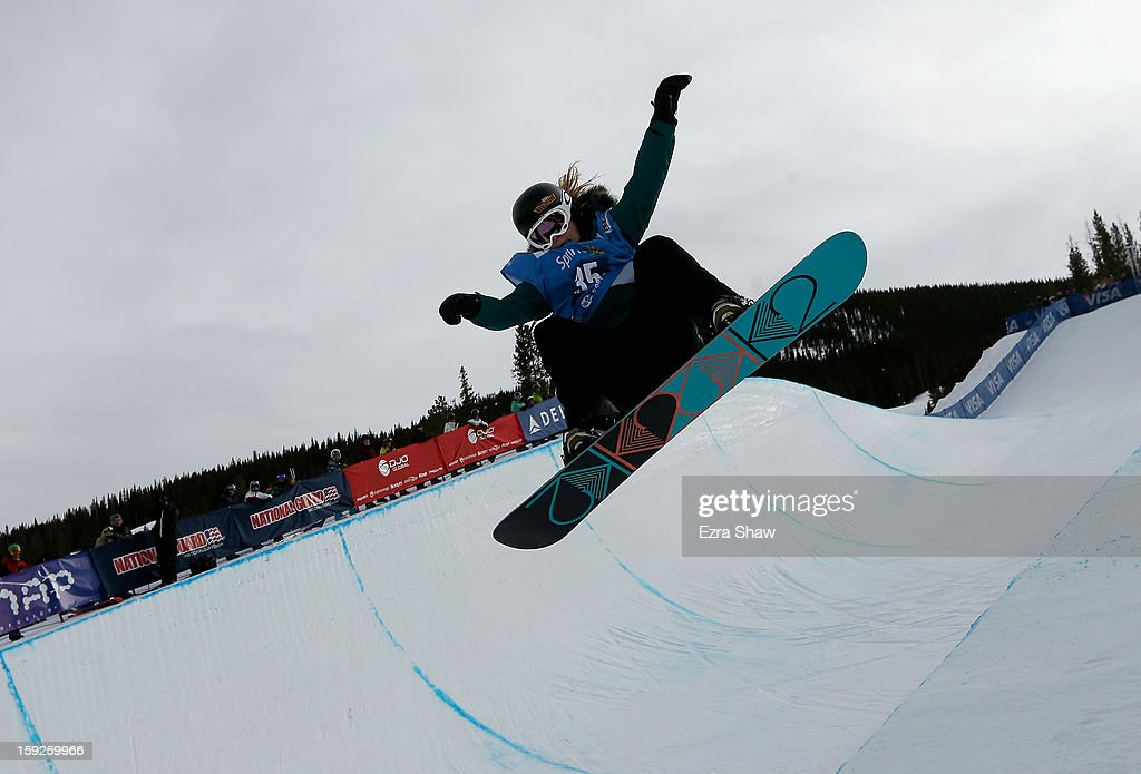 Ursina Haller of Switzerland competes in the qualifications of the women's FIS Snowboard Half Pipe World Cup at the US Grand Prix on January 10, 2013 in Copper Mountain, Colorado.