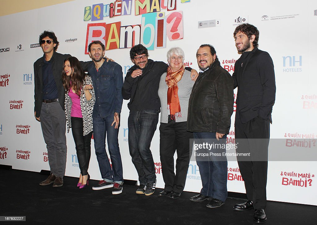 Ursula Corbero (2L), Julian Villagran (3L), Santi Amodeo (4L), Joaquin Nunez (2R) and Quim Gutierrez (R) attend the photocall of '¿Quien Mato a Bambi?' at Hesperia Hotel on November 12, 2013 in Madrid, Spain.