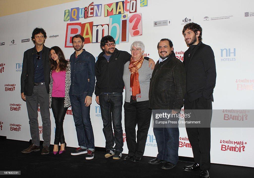 Ursula Corbero (2L), Julian Villagran (3L), Santi Amodeo (4L), Joaquin Nunez (2R) and Quim Gutierrez (R) attend the photocall of '¿Quien Mato a Bambi?' at Hesperia Hotel on November 12, 2013 in Madrid, Spain.