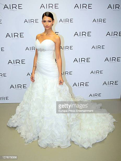 Ursula Corbero presents the bride gowns and gala dress from the Aire Barcelona collection by Rosa Clara on September 29 2011 in Madrid Spain