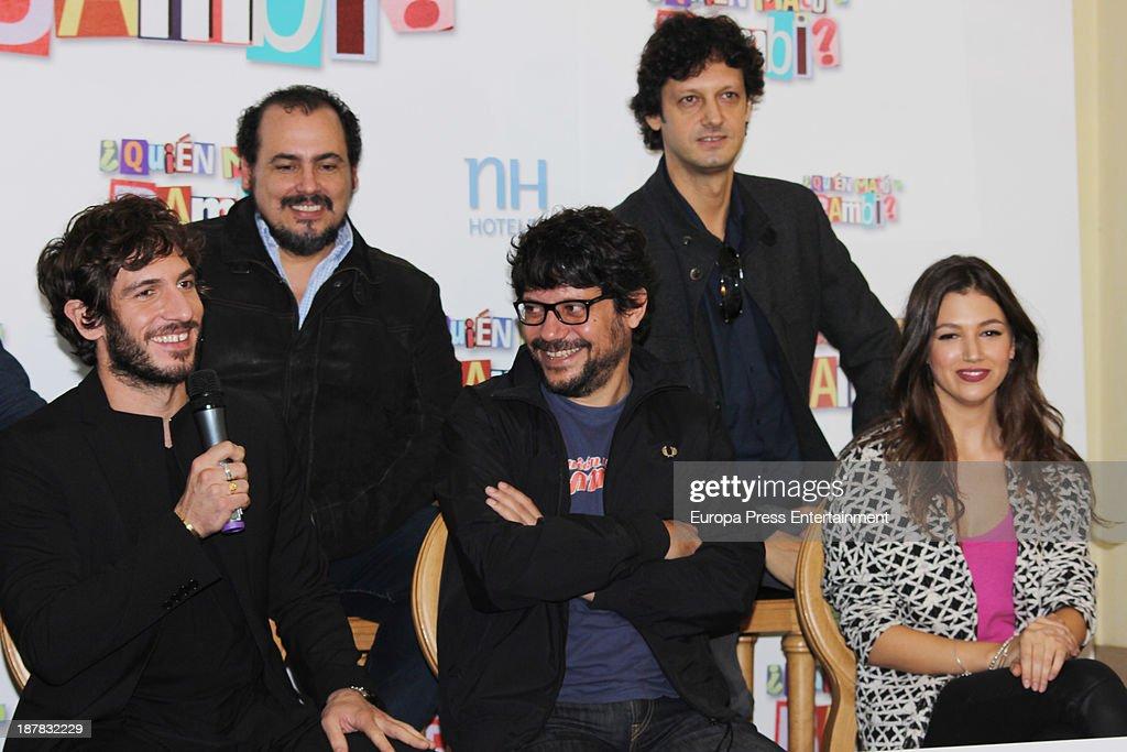 Ursula Corbero (R), Santi Amodeo (C), Joaquin Nunez (2L) and Quim Gutierrez (L) attend the photocall of '¿Quien Mato a Bambi?' at Hesperia Hotel on November 12, 2013 in Madrid, Spain.