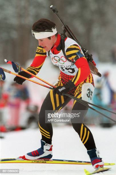 Ursula Disl of Germany skis to a silver medal in the women's 75km biathlon sprint at Nozawa Onsen 15 February Disl the 1997 world champion was...