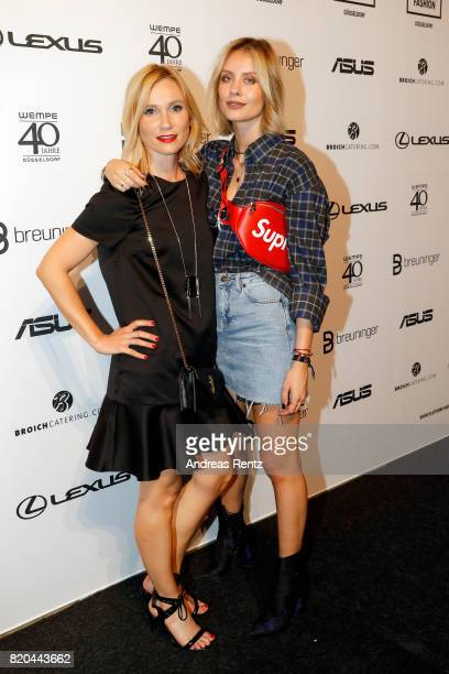 Ursula Goczol and Lisa Hahnbueck attend the Breuninger after party during Platform Fashion July 2017 at Areal Boehler on July 21 2017 in Duesseldorf...