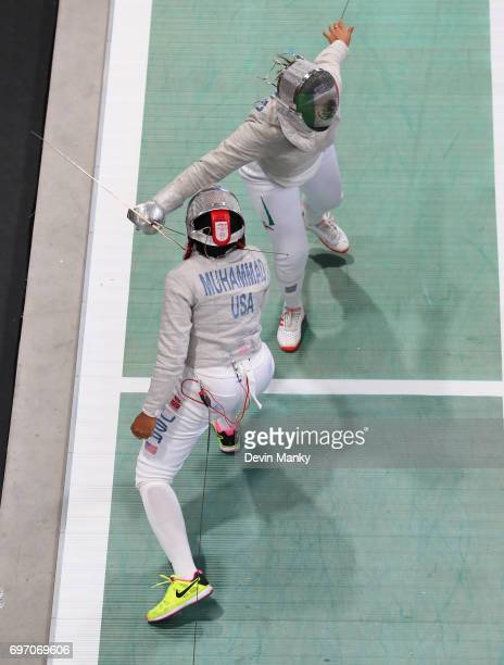 Ursula Gonzalez Garate of Mexico fences against Ibtihaj Muhammad of the USA during the gold medal match in the Team Women's Sabre event on June 17...
