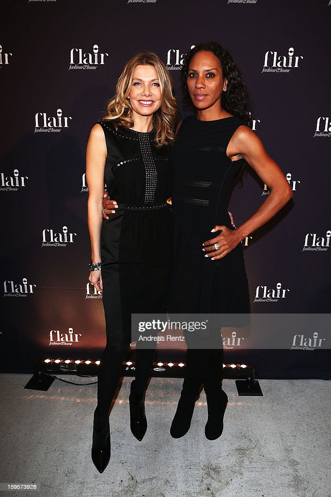 Ursula Karven and Barbara Becker attend Flair Magazine Party at Pariser Platz 4 on January 15, 2013 in Berlin, Germany.
