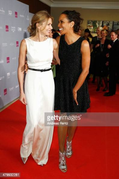 Ursula Karven and Barbara Becker attend the GLORIA German Cosmetic Award at Hilton Hotel on March 21 2014 in Duesseldorf Germany