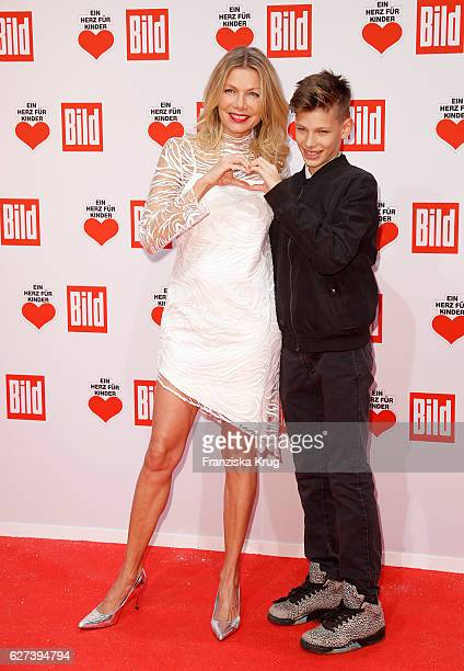 Ursula Karven and her son Liam Taj Veres atetnd the Ein Herz Fuer Kinder Gala on December 3 2016 in Berlin Germany