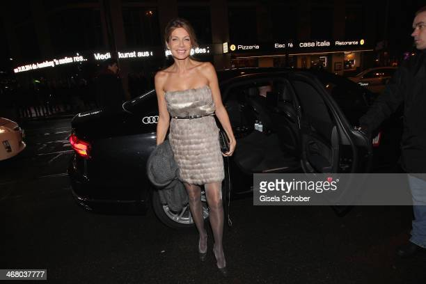 Ursula Karven arrives in a Audi car at the Bild 'Place to B' Party during the 64th Berlinale International Film Festival on February 8 2014 in Berlin...