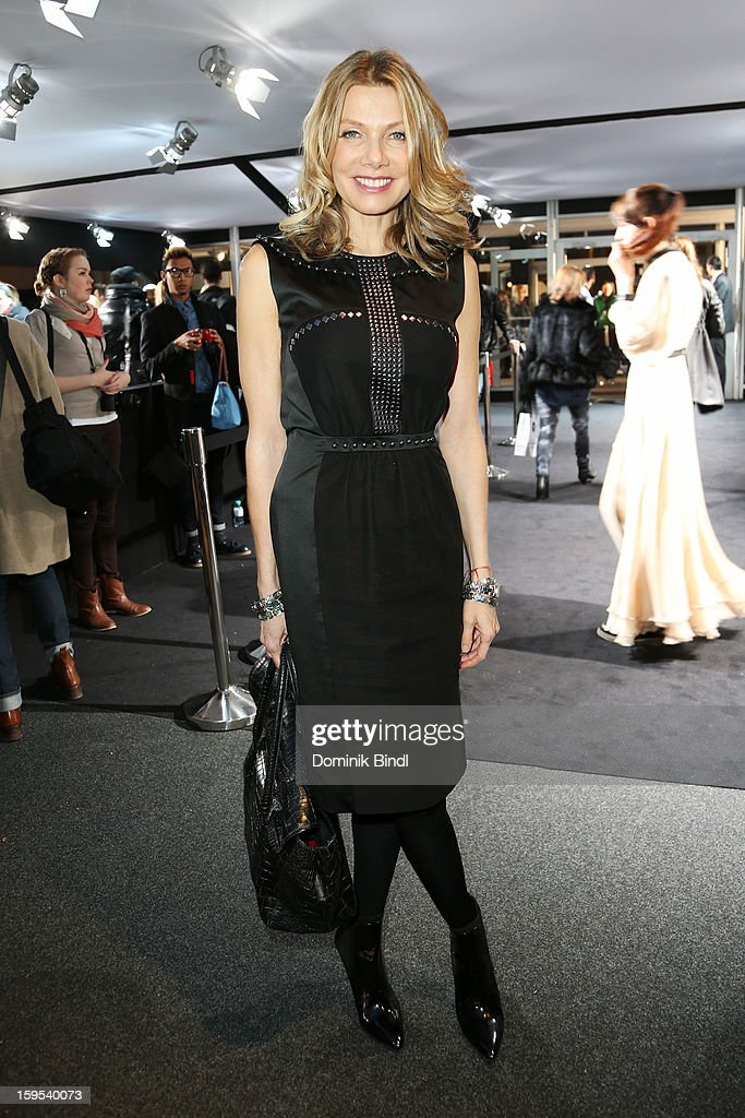 Ursula Karven attends Leandro Cano Autumn/Winter 2013/14 fashion show during Mercedes-Benz Fashion Week Berlin at Brandenburg Gate on January 15, 2013 in Berlin, Germany.