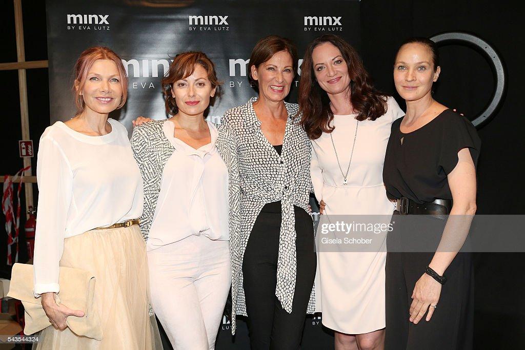 Ursula Karven Carolina Vera designer Eva Lutz Natalia Woerner and Jeanette Hain attend the Minx by Eva Lutz show during the MercedesBenz Fashion Week...