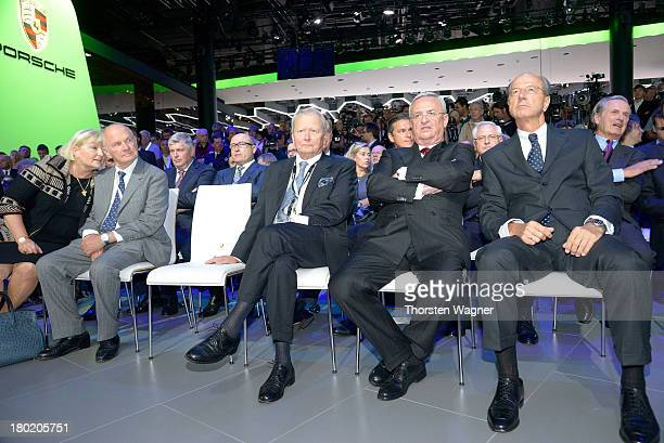 Ursula Piech Ferdiand Piech Wolfgang Porsche and Martin Winterkorn looks on during the press day at the international motor show IAA on September 11...