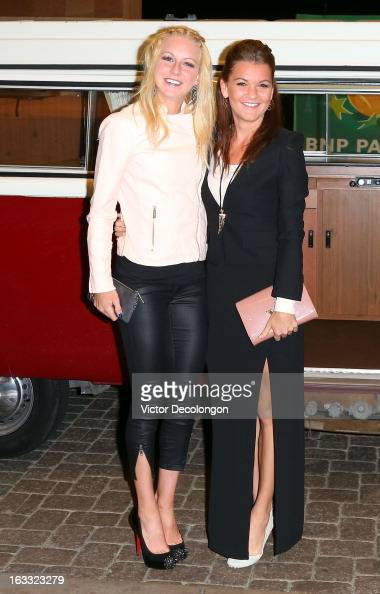 Ursula Radwanska and Agnieszka Radwanska of Poland arrive for a player's party at the IW Club on March 7 2013 in Indian Wells California