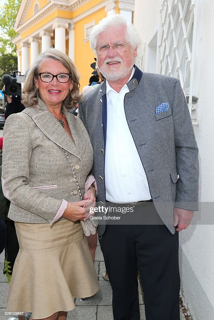 Ursula Schindler, mother of David Meister, and her husband Ulrich Schindler during the wedding of Sophie Wepper and David Meister outside the registry office at Mandlstrasse on May 4, 2016 in Munich, Germany.
