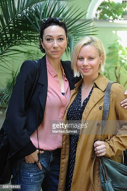 Ursula Strauss and Katharina Strasser pose during the 'Schnell ermittelt' on set photo call on June 8 2016 in Vienna Austria