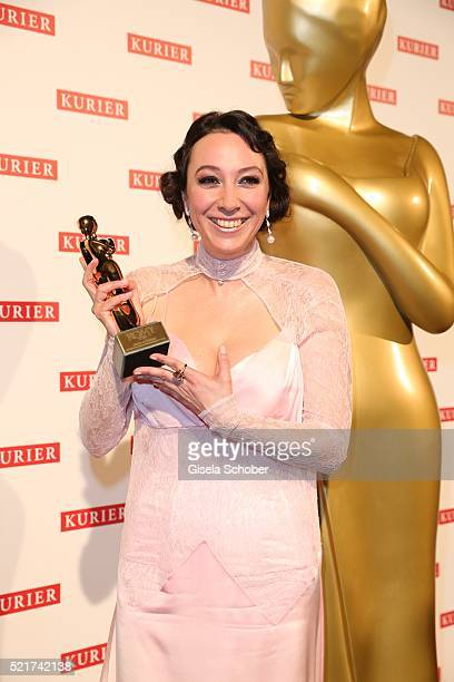 Ursula Strauss poses with her award during the 27th ROMY Award 2015 at Hofburg Vienna on April 16 2016 in Vienna Austria