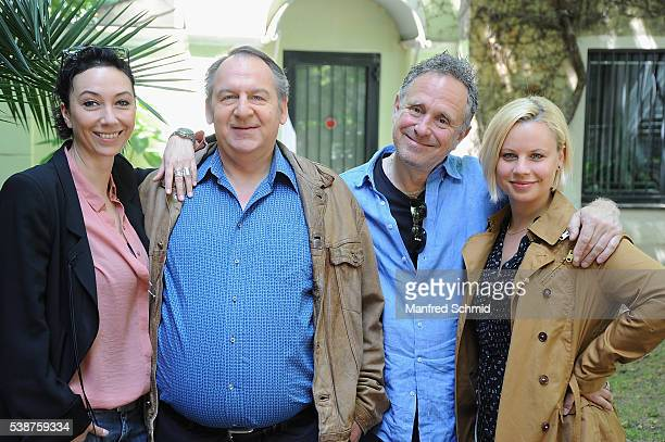 Ursula Strauss Wolf Bachofner Michi Riebl and Katharina Strasser pose during the 'Schnell ermittelt' on set photo call on June 8 2016 in Vienna...