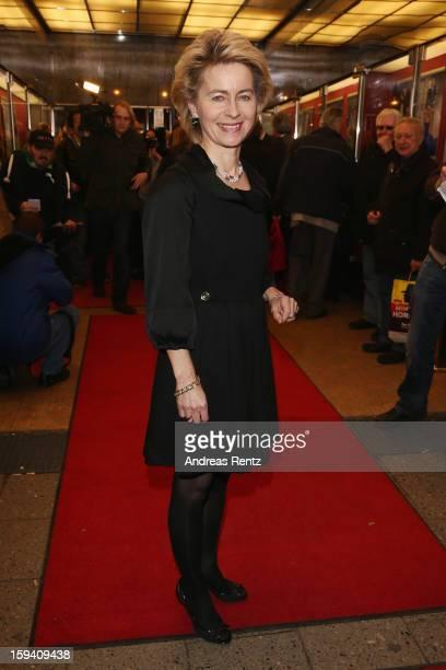 Ursula von der Leyen attends the 'GeruechteGeruechte' premiere at Theater am Kurfuerstendamm on January 13 2013 in Berlin Germany