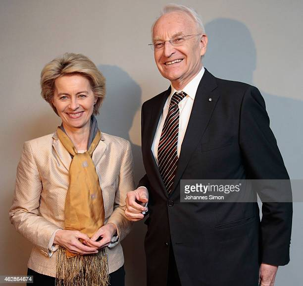 Ursula von der Leyen German federal minister of defence and Edmund Stoiber former Bavarian state governor attend a dinner reception at the Kaefer...