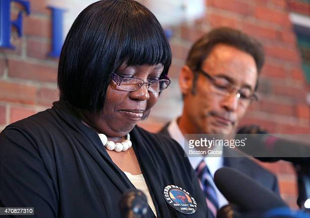 Ursula Ward Odin Lloyd's mother pauses as she gets emotional during a press conference at the office of her attorney Douglas Sheff about her pending...