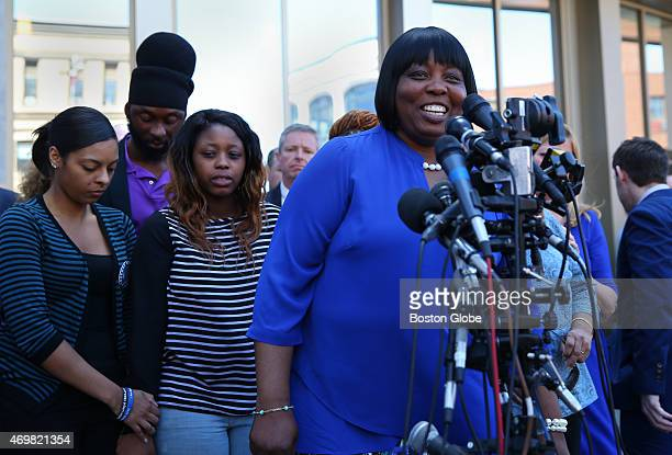 Ursula Ward the mother of Odin Lloyd speaks to the media after the trial of Aaron Hernandez who was found guilty in the first degree murder of her son