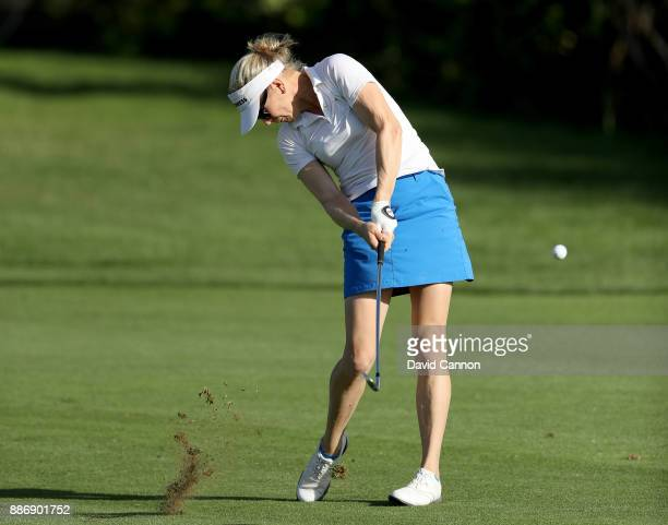 Ursula Wikstrom of Finland plays her second shot on the par 4 9th hole during the first round of the 2017 Dubai Ladies Classic on the Majlis Course...