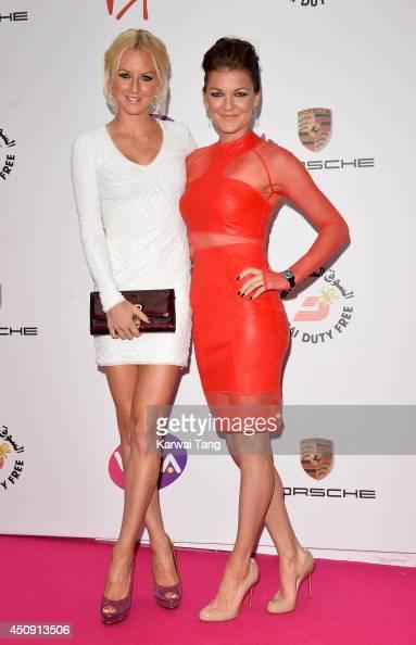 Urszula Radwanska and Agnieszka Radwanska attend the WTA PreWimbledon party at Kensington Roof Gardens on June 19 2014 in London England