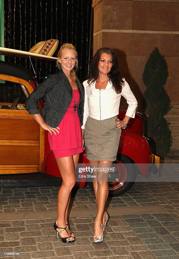 Urszula Radwanska and Agnieszka Radwanska of Poland arrive at the player's party for the BNP Paribas Open at the Indian Wells Club on March 10 2011...