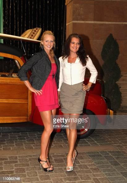 Urszula Radwanska and Agnieszka Radwanska of Poland arrive at the player's party for the BNP Paribas Open at the Indian Wells Club on March 10 2011...