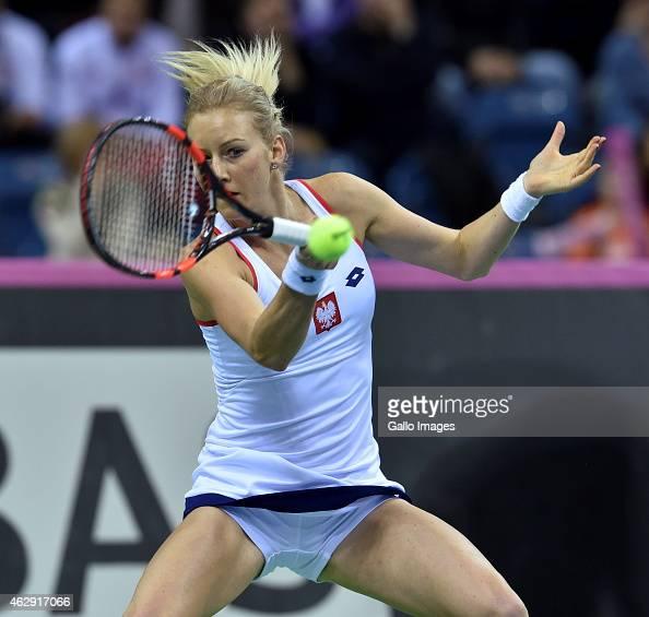Urszula Radwanska during the FED Cup match between Urszula Radwanska of Poland and Maria Sharapova of Russia at Krakow Arena on February 07 2015 in...