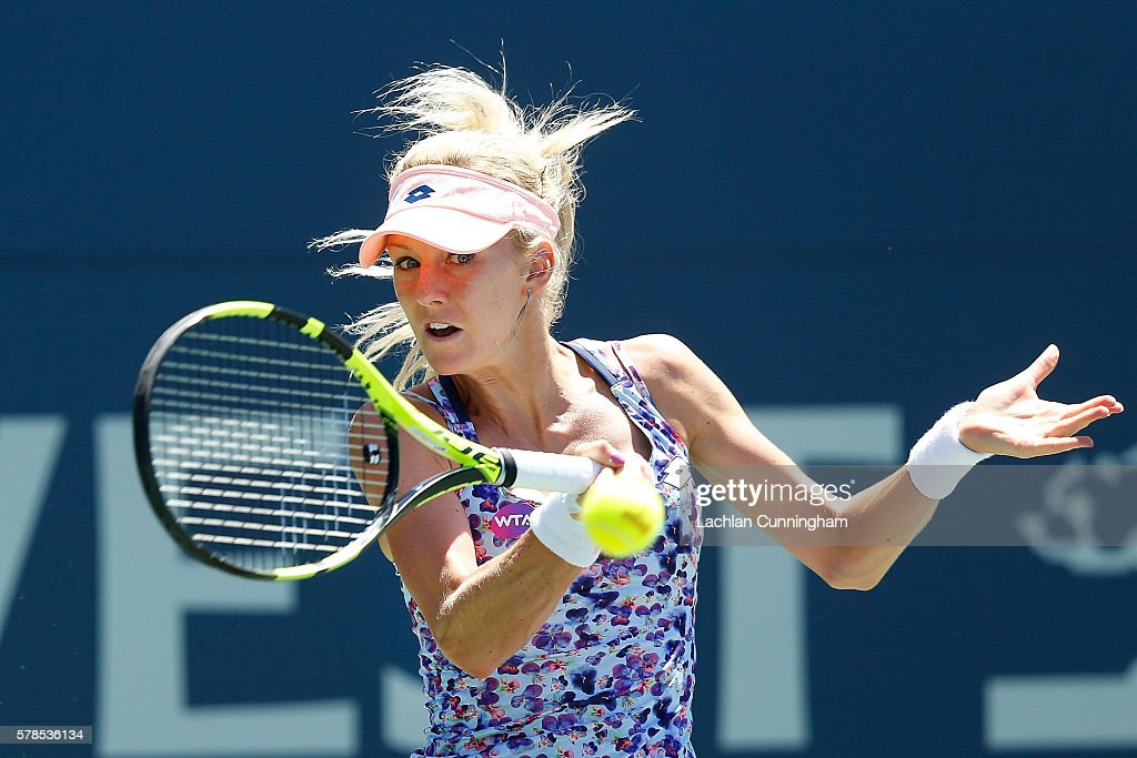 Urszula Radwanska of Poland competes against Dominika Cibulkova of Slovakia during day four of the Bank of the West Classic at the Stanford...