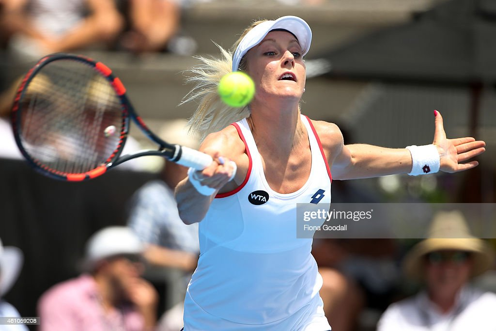 Urszula Radwanska of Poland hits a forehand shot against Francesca Schiavone of Italy during day two of the 2015 ASB Classic at ASB Tennis Centre on...