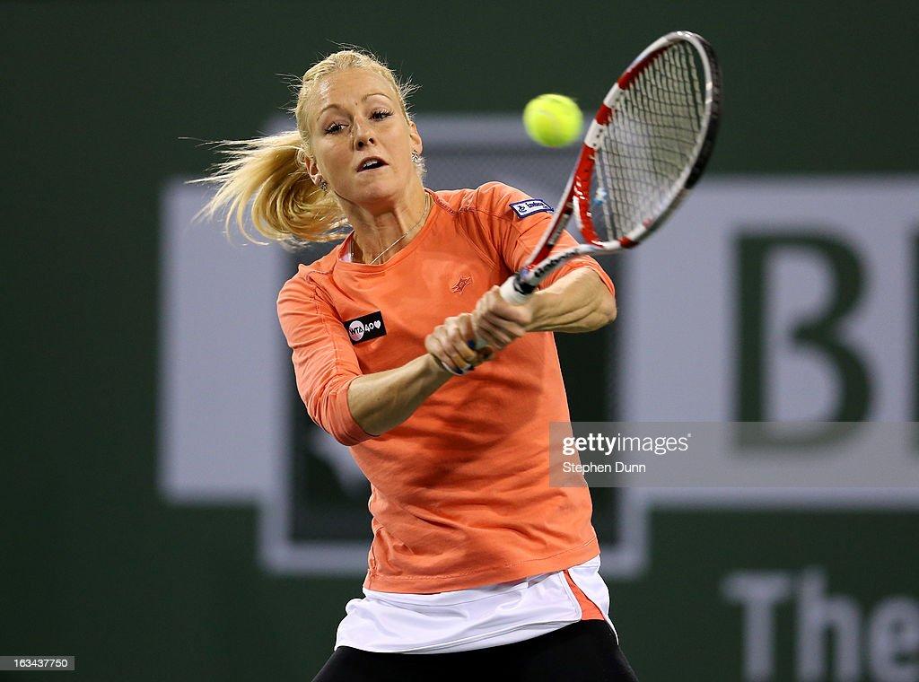 <a gi-track='captionPersonalityLinkClicked' href=/galleries/search?phrase=Urszula+Radwanska&family=editorial&specificpeople=763751 ng-click='$event.stopPropagation()'>Urszula Radwanska</a> of Poland hits a return to Sloane Stephens during day 4 of the BNP Paribas Open at Indian Wells Tennis Garden on March 9, 2013 in Indian Wells, California.