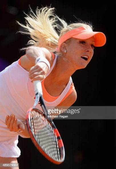 Urszula Radwanska of Poland in action against Belinda Bencic of Switzerland during day one of theInternazionali BNL d'Italia 2014 on May 11 2014 in...