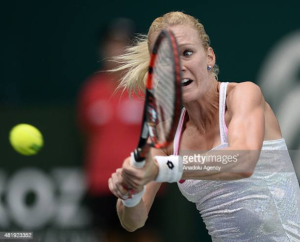 Urszula Radwanska of Poland in action against Magdalena Rybarikova of Slovakia during their semi final at the TEB BNP Paribas Istanbul Cup tennis...