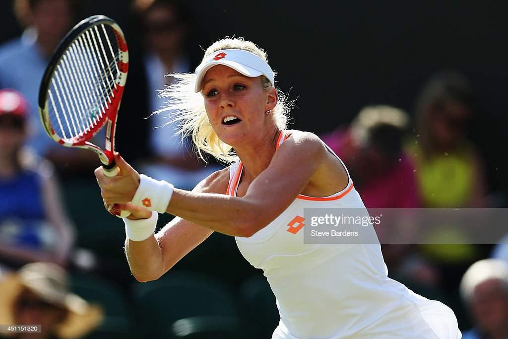 Urszula Radwanska of Poland in action during her Ladies' Singles first round match against Angelique Kerber of Germany on day two of the Wimbledon...