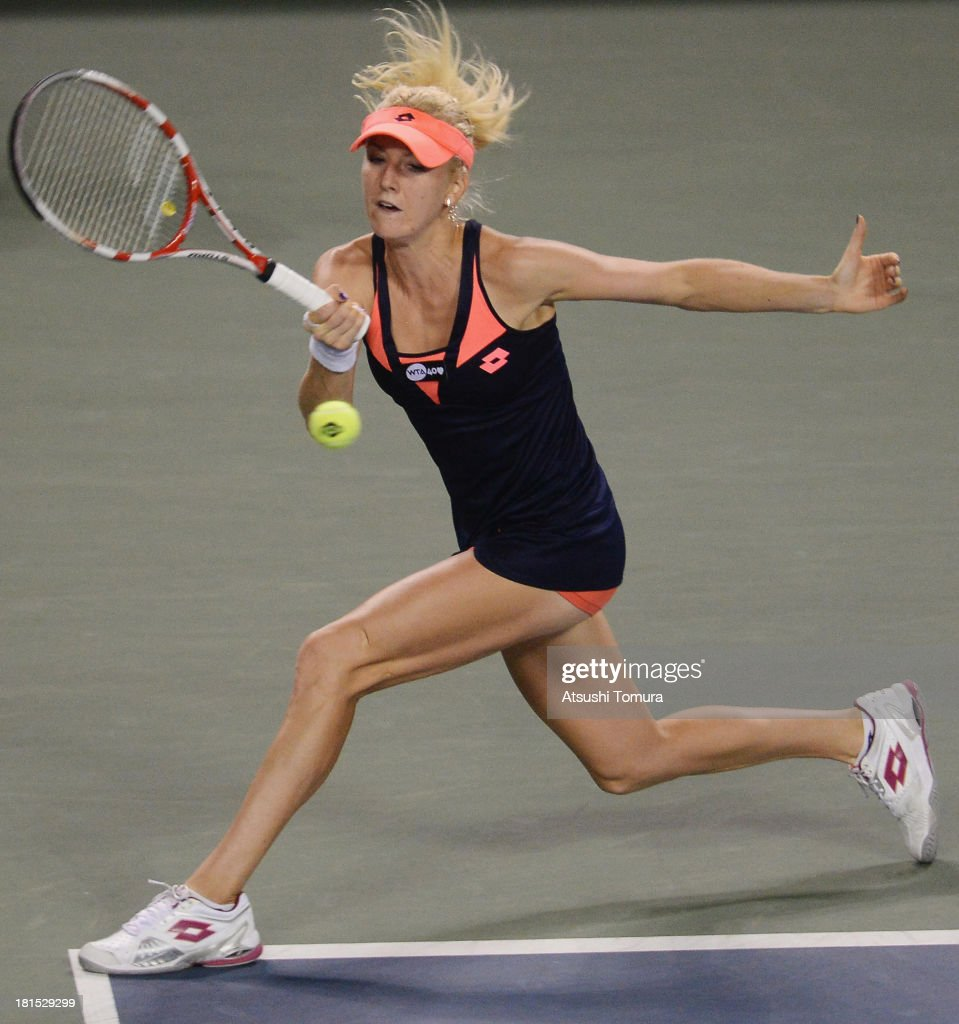 Urszula Radwanska of Poland in action during her women's singles first round match against Dominika Cibulkova of Slovakia during day one of the Toray...