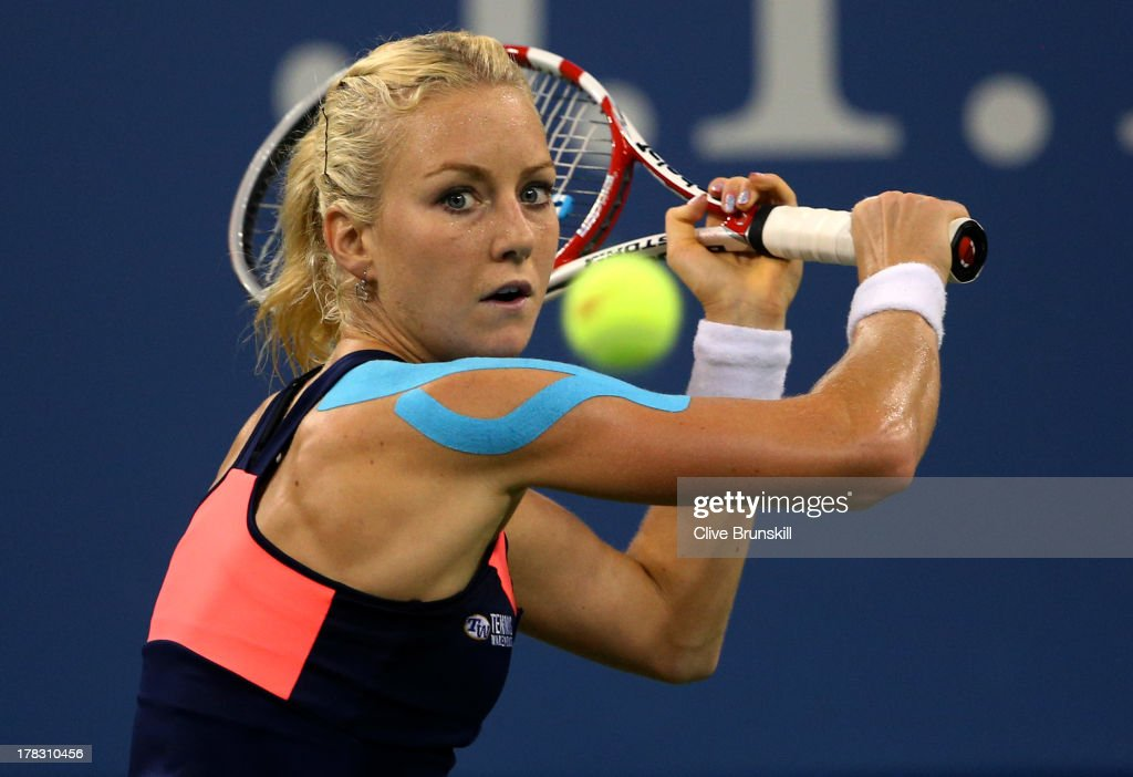 <a gi-track='captionPersonalityLinkClicked' href=/galleries/search?phrase=Urszula+Radwanska&family=editorial&specificpeople=763751 ng-click='$event.stopPropagation()'>Urszula Radwanska</a> of Poland plays a backhand during her women's singles second round match against Sloane Stephens of United States of America on Day Three of the 2013 US Open at USTA Billie Jean King National Tennis Center on August 28, 2013 in the Flushing neighborhood of the Queens borough of New York City.
