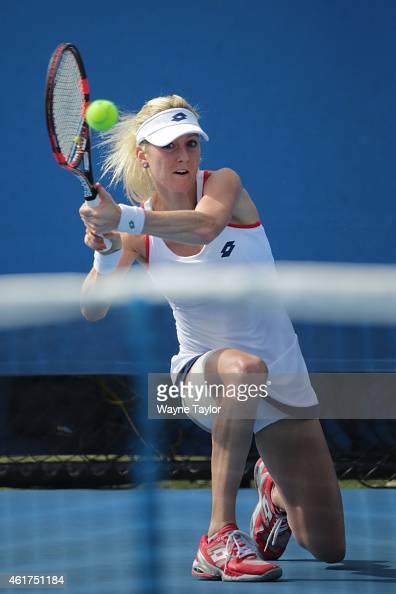 Urszula Radwanska of Poland plays a backhand in her first round match against Zarina Diyas of Kazakhstan during day one of the 2015 Australian Open...