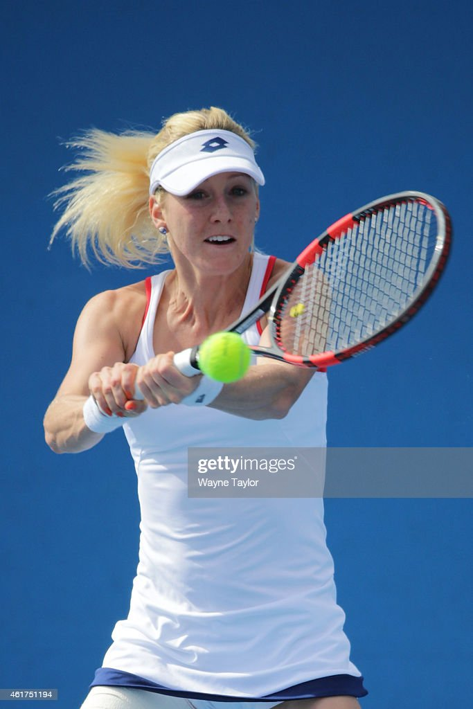 Urszula Radwanska of Poland plays a backhand in her first round match against Zarina Diyas of Kazakhstan during day one of the 2015 Australian Open...