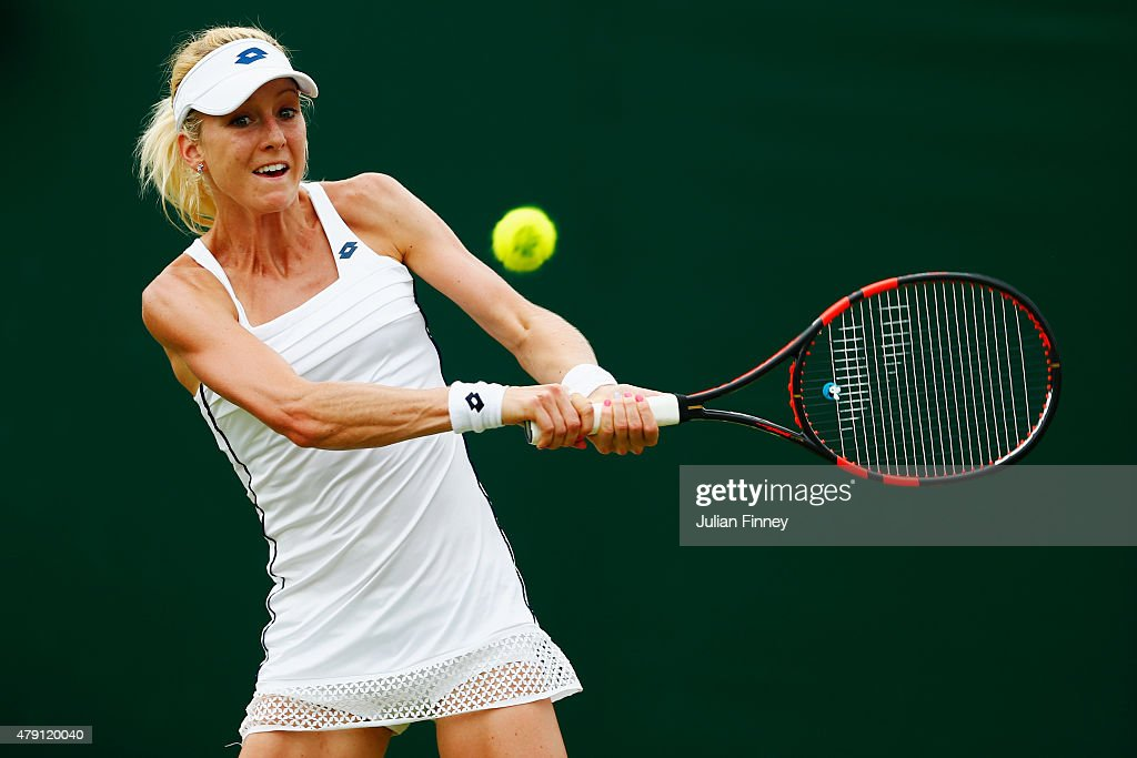 Urszula Radwanska of Poland plays a backhand in her Ladies Singles Second Round match against Samantha Stosur of Australia during day three of the...