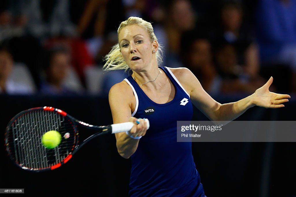 Urszula Radwanska of Poland plays a forehand during her quarterfinal match against Lauren Davis of the USA during day four of the 2015 ASB Classic at...