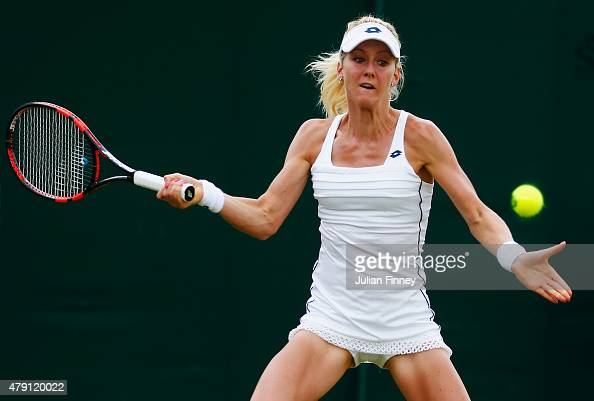 Urszula Radwanska of Poland plays a forehand in her Ladies Singles Second Round match against Samantha Stosur of Australia during day three of the...