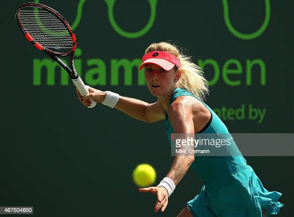 Urszula Radwanska of Poland plays a match against CoCo Vandeweghe during Day 3 at the Miami Open at Crandon Park Tennis Center on March 25 2015 in...