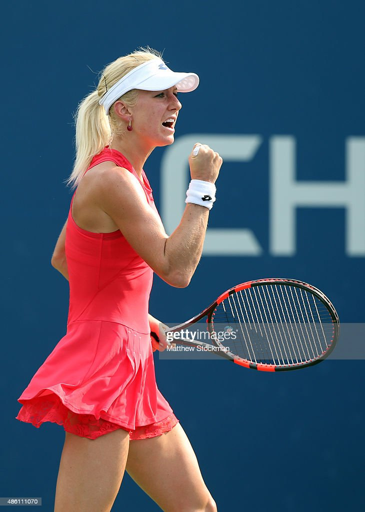 Urszula Radwanska of Poland reacts against Magda Linette of Poland during their Woman's Singles First Round match on Day One of the 2015 US Open at...