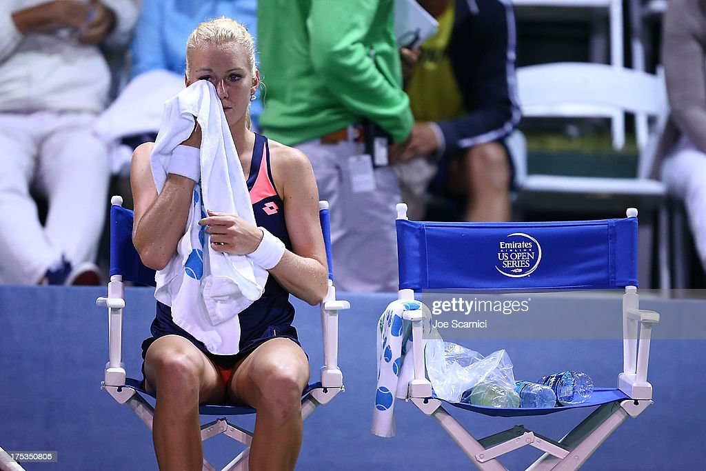 Urszula Radwanska of Poland reacts to losing a point in between sets to Victoria Azarenka of Bulgaria during their quarter final match at the Southern California Open Day Five at La Costa Resort & Spa on August 2, 2013 in Carlsbad, California.