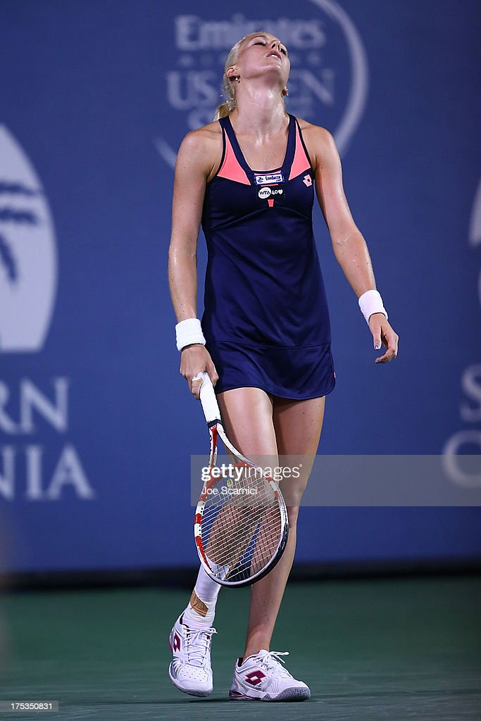 Urszula Radwanska of Poland reacts to losing a point to Victoria Azarenka of Bulgaria during their quarter final match at the Southern California Open Day Five at La Costa Resort & Spa on August 2, 2013 in Carlsbad, California.