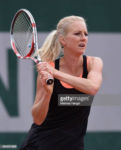 Urszula Radwanska of Poland returns a shot during her women's singles match against Magdalena Rybarikova of Slovakia on day three of the French Open...