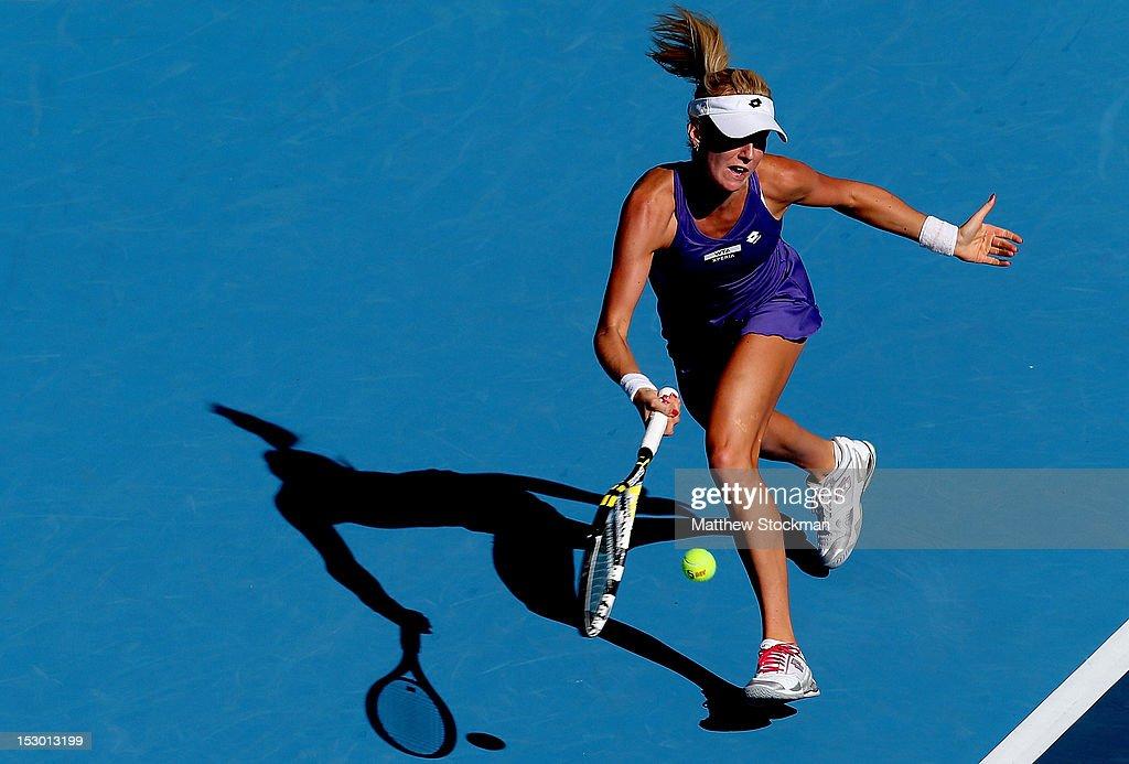 Urszula Radwanska of Poland returns a shot to Romina Oprandi of Switzerland during the China Open at the China National Tennis Center on September 29, 2012 in Beijing, China.